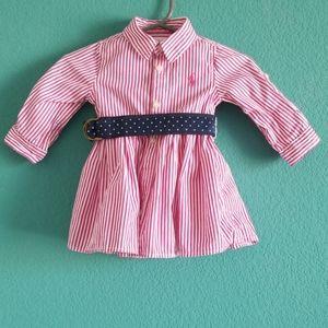 Ralph Lauren Pink & White Stripe Long Sleeve Dress